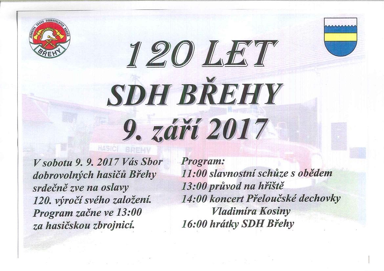 Výročí 120 let od založení SDH Břehy v sobotu 9.9.2017